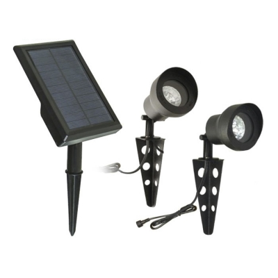 Dual Head Black Finish 2-LED Solar Landscape Spotlights with Separable Panel