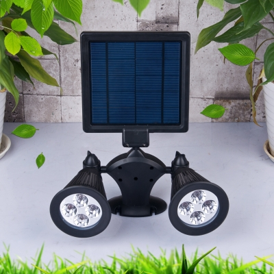 Dual Light Cool White  Adjustable Solar Powered Security Wall Mount Landscape Spotlight
