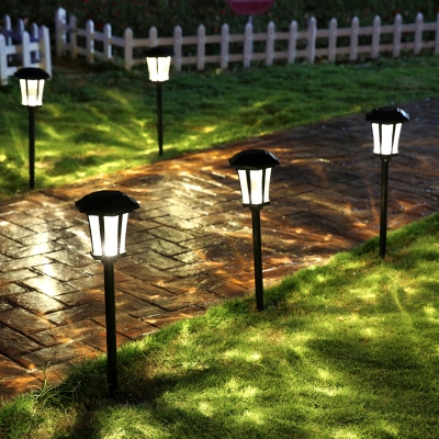 ... 25u0027u0027 H Large Outdoor Solar LED Pathway Landscape Lights In Black ...