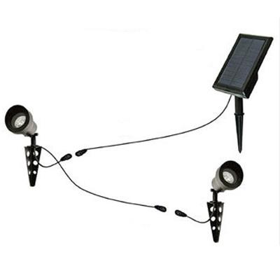 Dual Head Black Finish 2-LED Solar Landscape Spotlights with Separable Panel