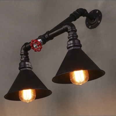 Mottled Rust Iron 2 Light Pipe LED Wall Sconce with Red Valve