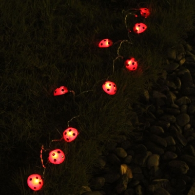 Solar Powered Led String Lights Red : 10 Piece Creative Red Beatles Solar Powered LED Holiday String Lighting - Beautifulhalo.com