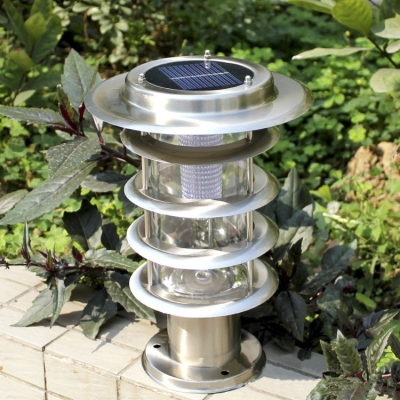 5 Tiers Chic Design  Stainless Steel Light Sensor Solar Powered LED Lawn Post Pillar Lighting