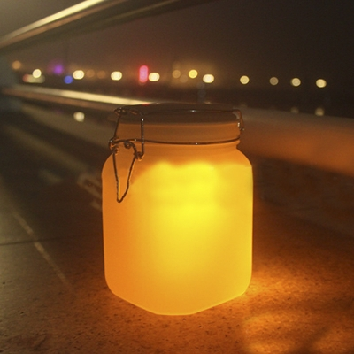 Cute Four Inches Wide Solar Powered Warm Light LED Outdoor Portable Night Light