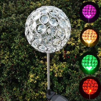 Set of 2 4 39 39 w color changing crystal ball decorative outdoor solar powered led garden stake for Solar garden stakes color changing