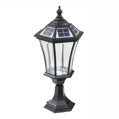 21 H Black Finish Clear Gl Solar Led Outdoor Pillar Light Beautifulhalo