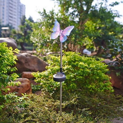 34 Inches High Solar Powered Outdoor Garden Stake Landscape Lighting in Butterfly Shape
