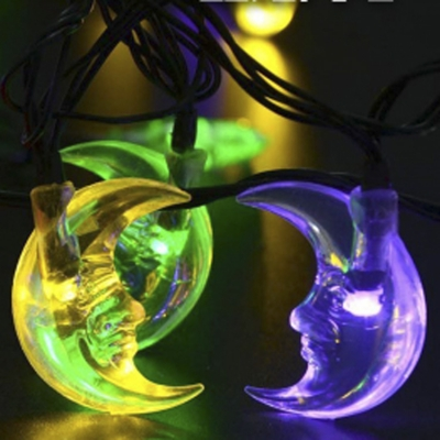 Exterior Solar String Lights : Moon Shape Multi Color Solar Powered Outdoor String Lights with 30 LEDs - Beautifulhalo.com