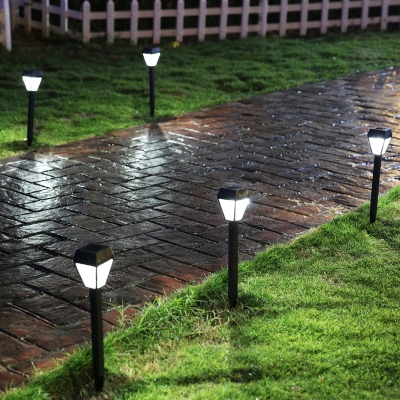 Set of 4 grey finish weatherproof solar powered garden - Decorative garden lights solar powered ...