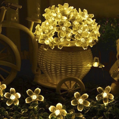 Solar String Yellow Light 50 Pieces Peach Blossom Led Lighting