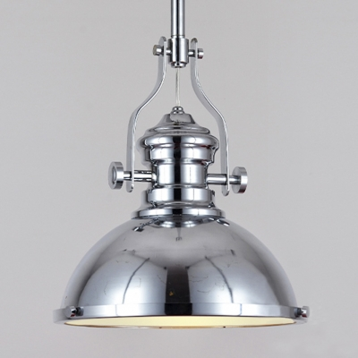 Polished Nickel 12u0027u0027 Wide One Light LED Pendant In Industrial Style