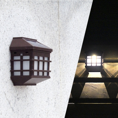 Brown Plastic Single LED Solar Powered Outdoor Step Light