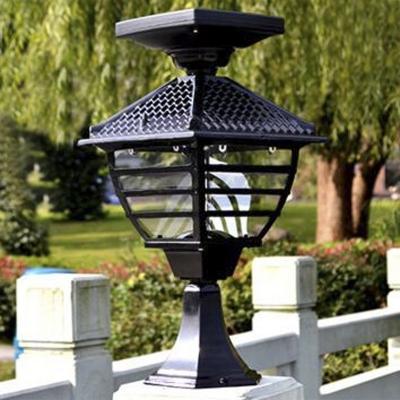 Lattice 18'' H Black Wireless Solar 12 LED Outdoor Post Lighting