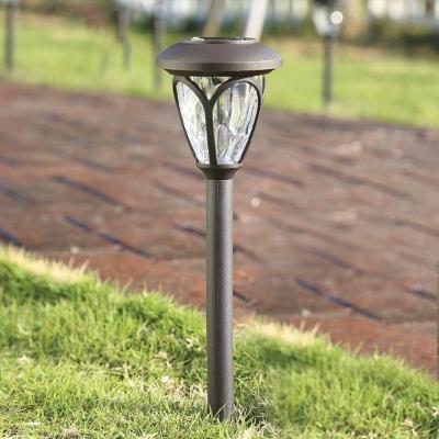 Set of 2 Light Sensor Solar Powered LED Garden Path Light in Grey Finish