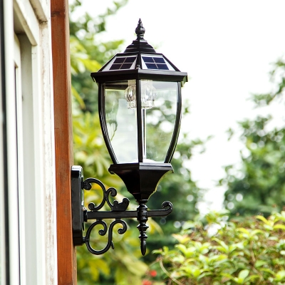 vintage style large led outdoor solar wall lighting in black finish