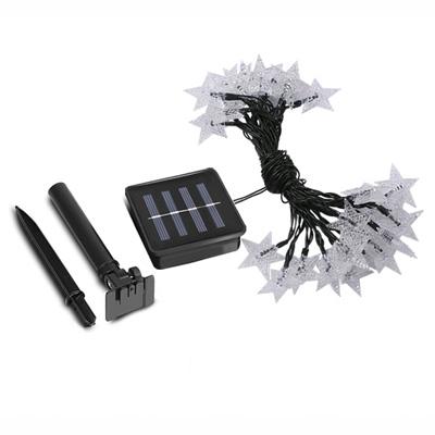 Cool White Star Shape 23ft 30 LEDs Solar Powered Decorative String Lighting