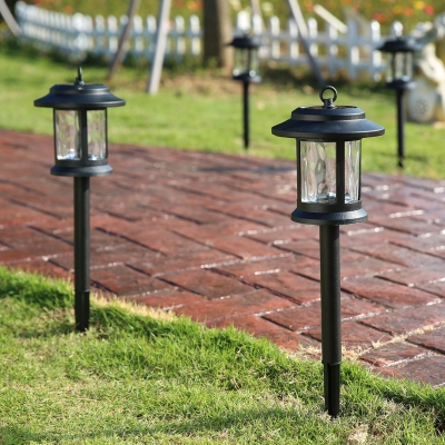 18 Inches High Black Heatproof Glass Shade LED Solar Power Outdoor Path  Light