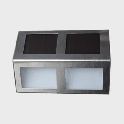 Set of 2 Stainless Steel 2-LED Solar Powered Step Light