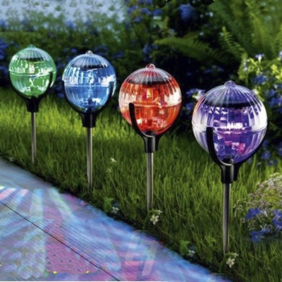 Color Changing Solar Powered LED Crystal Ball 3u0027u0027 Wide Outdoor Garden Stake  Landscape Lighting