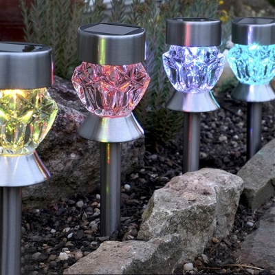 Set of 4 Solar Power Color Changing Outdoor Decorative LED Pathway Lighting