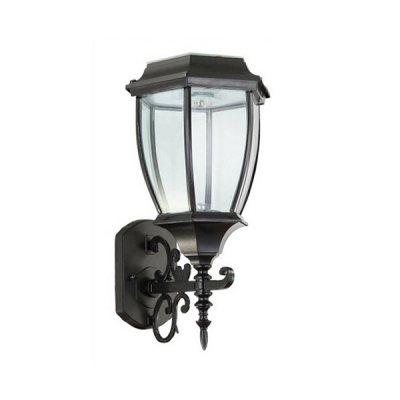 Matte Black Simple Nine Inches Wide Nature Powered LED Outdoor Wall Lamp