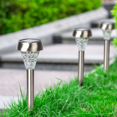 Set of 6 Cool White Stainless Steel 15 Inches High Solar Powered Landscape Pathway Lighting
