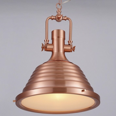 Copper  14'' Wide Industrial Collection 1-Lt Pendant with Ribbing