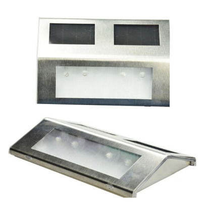 Set of 4 Stainless Steel 4 LED Solar Power Waterproof  Outdoor Step Lighting