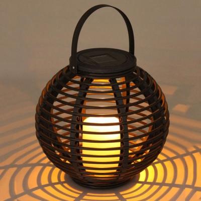 dusk to dawn portable solar powered globe shape rattan outdoor