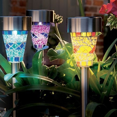 Set of 4 Solar Powerd 14'' H LED Decorative Garden Lawn Landscape Lighting