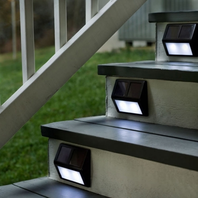 Купить со скидкой Set of 4 Stainless Steel 4 LED Solar Power Waterproof  Outdoor Step Lighting