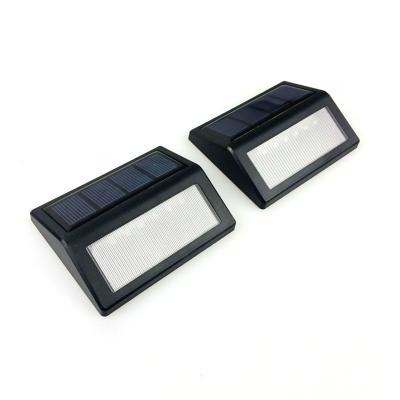 2 Pack 6 LED Black ABS Solar  Step Light