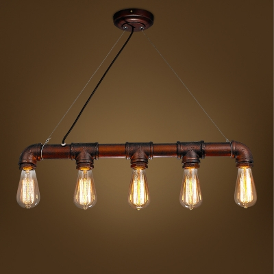 26 Wide Antique Copper 5 Light Pipe Led Island Light For