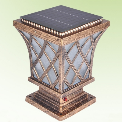 Asian Style Lighting asian style antique bronze 7 inchs wide solar led outdoor pillar