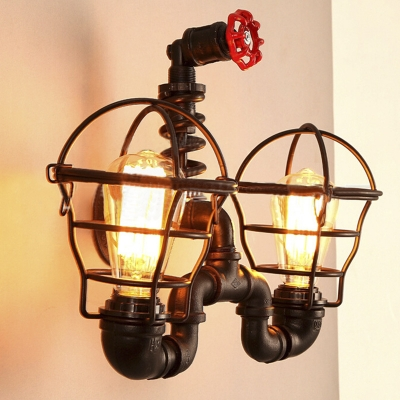 Unique Designed 2 Light Pipe LED Wall Sconce in Black Finish with Cage