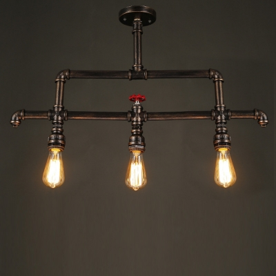 Antique Bronze 31.5 Inches Wide Pipe LED Semi Flush Light