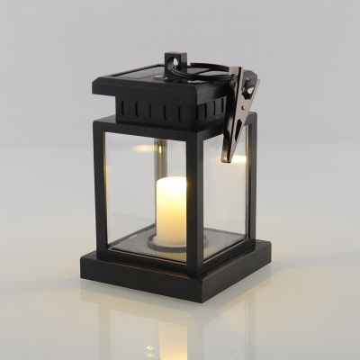 Solar Powered 4 Inches Wide Hanging Black Lantern for Tree, Christmas Decoration