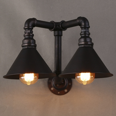 16 Inches Wide 2 Head Pipe LED Wall Sconce with Cone Shade