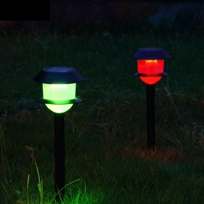2pk Vintage Black 17 Inches High Two Layer Simple LED Solar Powered Pathway Lighting