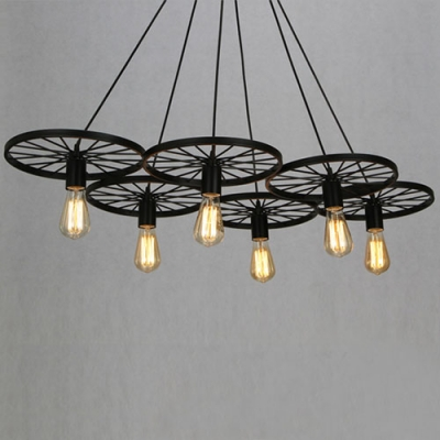 Vintage industrial style wheel led chandelier in black