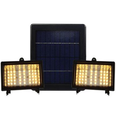 Warm Yellow Light 40 LEDs Dual Head Super Bright Solar Power Outdoor Flood Light