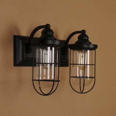 Double Light Led Wall Sconce In Matte Black With Clear Glass Beautifulhalo Com