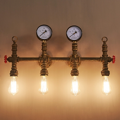 28 Inches Wide 4 Light Rust Pipe LED Wall Sconce with Red Valve