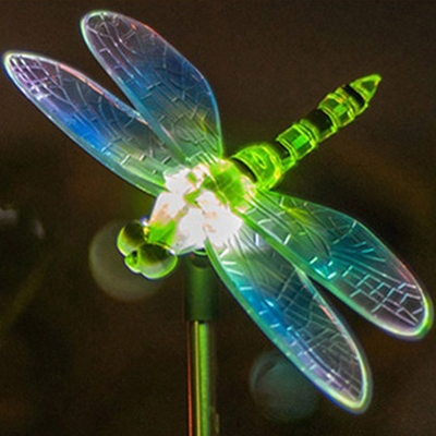 Dragonfly Shape 34 H Color Changing Outdoor Solar Led Light Garden For Christmas