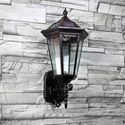 Traditional Style  17'' High 1.3 Watt Solar LED  Wall Light  in Black Finish