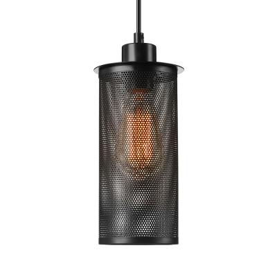 Mini Wrought Iron Long Cylinder Net Pendant in Industrial Style