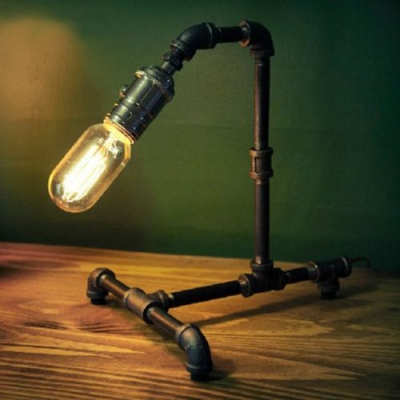 Industrial 1 Light Pipe LED Table Lamp in Old Bronze Finish