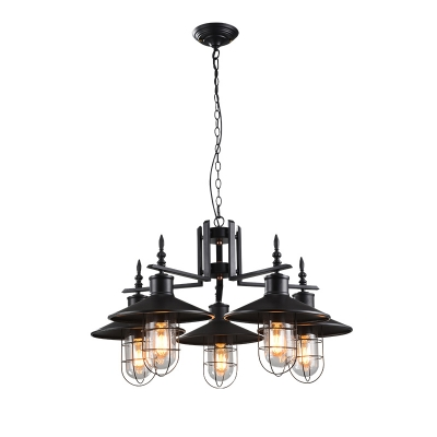 nautical style 5 light 1 tier led chandelier with metal shade