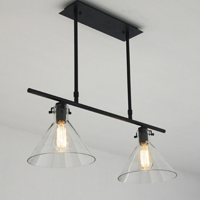 ... 2 Light Linear Island Light With 2 Clear Glass Shade