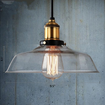 Bronze/Brass 1 Light Single LED Pendant in Clear Glass Shade